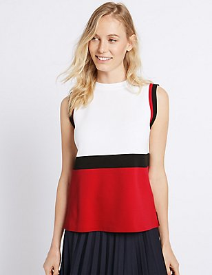 Colour Block Round Neck Sleeveless Jumper, WHITE MIX, catlanding