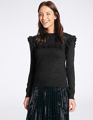 Sparkly Ruffle Yoke Funnel Neck Jumper, BLACK, catlanding