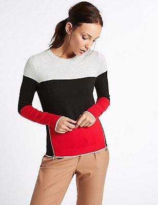 Colour Block Zip Detail Round Neck Jumper, LIGHT GREY MIX, catlanding