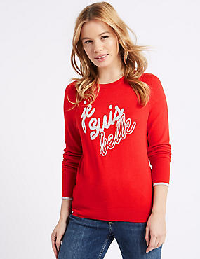 PETITE Round Neck Jumper, LACQUER RED, catlanding