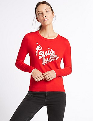 Je Suis Belle Round Neck Jumper, LACQUER RED, catlanding