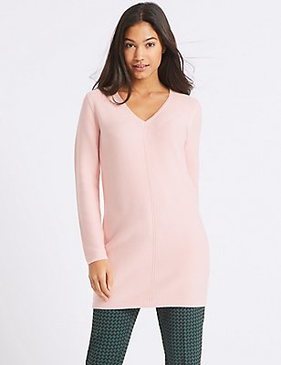 Cotton Blend V-Neck Long Sleeve Tunic, BLUSH, catlanding