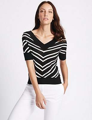 Striped V-Neck Half Sleeve Jumper, , catlanding