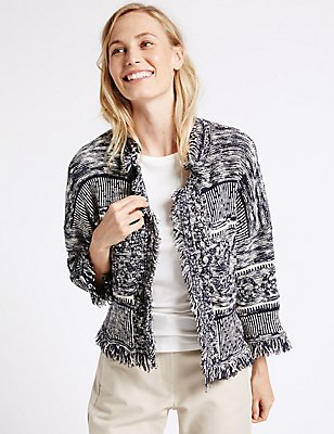 Cotton Rich Trophy Fringe Cardigan, BLUE MIX, catlanding