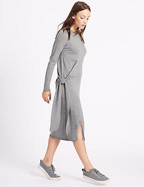 Pure Wool Tie Side Jumper Dress, SILVER GREY, catlanding