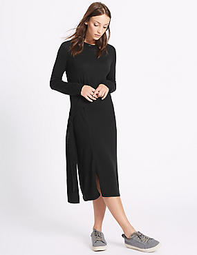 Pure Wool Tie Side Jumper Dress, BLACK, catlanding