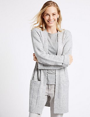 Textured 2 Pocket Cardigan, GREY MIX, catlanding