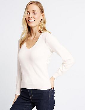 Pure Cotton Open Lace Back V-Neck Jumper, SOFT WHITE, catlanding