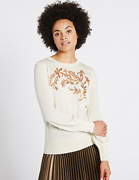 Embroidered Round Neck Jumper, CREAM MIX, catlanding