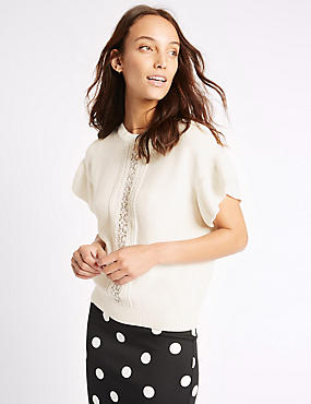 Pure Cotton Lace Trim Flared Sleeve Jumper, IVORY, catlanding