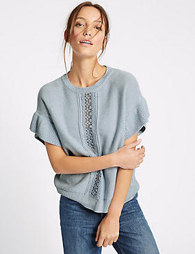Pure Cotton Lace Trim Flared Sleeve Jumper, CHAMBRAY, catlanding