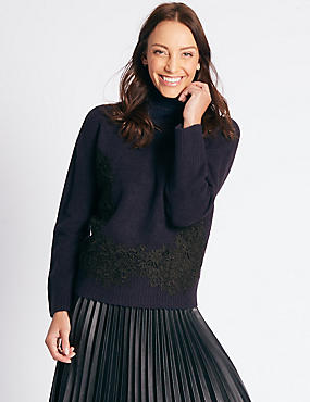 Lace Detail Turtle Neck Jumper, NAVY MIX, catlanding
