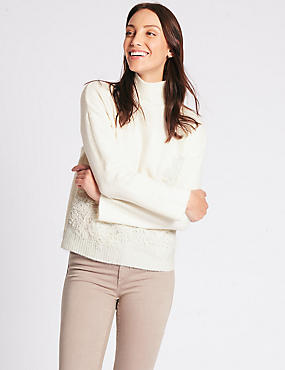 Lace Detail Turtle Neck Jumper, IVORY, catlanding