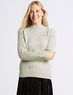 Cotton Rich Embellished Turtle Neck Jumper, GREY MARL, catlanding