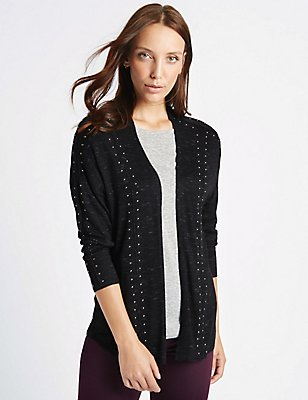 Textured Stud Detail Long Sleeve Cardigan, CHARCOAL, catlanding