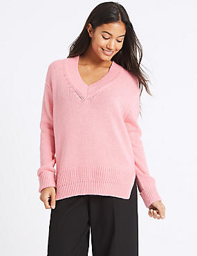 Cotton Blend V-Neck Jumper , PINK, catlanding