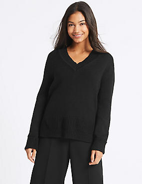 Cotton Blend V-Neck Jumper , BLACK, catlanding