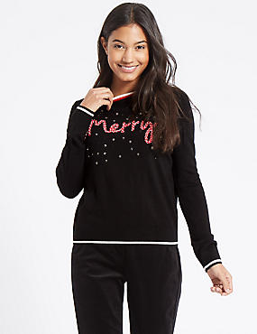 Embellished Novelty Round Neck Jumper , BLACK MIX, catlanding