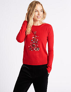 Embellished Christmas Tree Novelty Jumper , RED MIX, catlanding