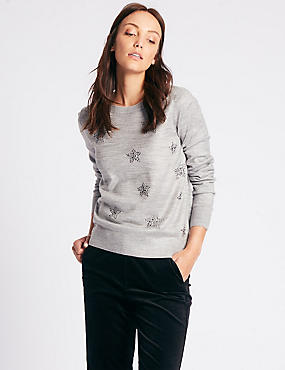 Star Embellished Round Neck Jumper, GREY MIX, catlanding