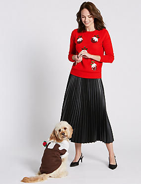 Dog Christmas Pudding Print Jumper, BROWN MIX, catlanding