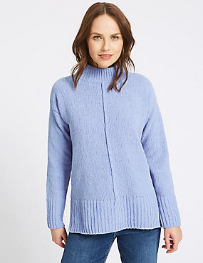 Chenille Textured Funnel Neck Jumper, BLUE, catlanding