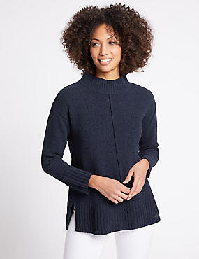 Chenille Textured Funnel Neck Jumper, NAVY, catlanding