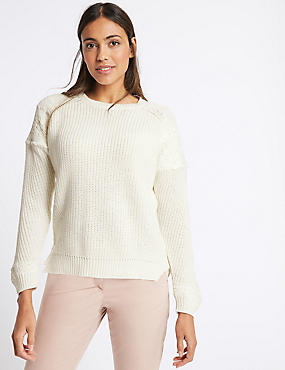 Pure Cotton Lace Round Neck Jumper, CREAM, catlanding