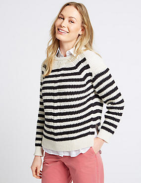 Pure Cotton Cable Stripe Knit Jumper, NAVY MIX, catlanding