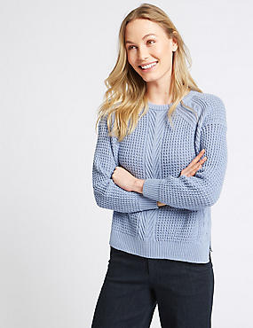 Pure Cotton Textured Round Neck Jumper, BLUEBELL, catlanding
