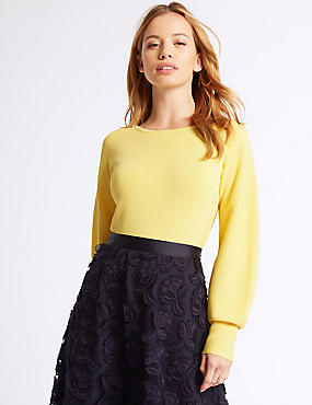 PETITE Balloon Sleeve Slash Neck Jumper, LEMON, catlanding