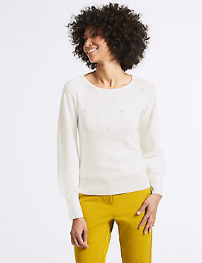 Balloon Sleeve Slash Neck Jumper, WINTER WHITE, catlanding