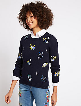 Cotton Rich Embroidered Round Neck Jumper, NAVY MIX, catlanding