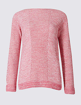 Pure Cotton Cable Knit Slash Neck Jumper, BRIGHT PINK, catlanding