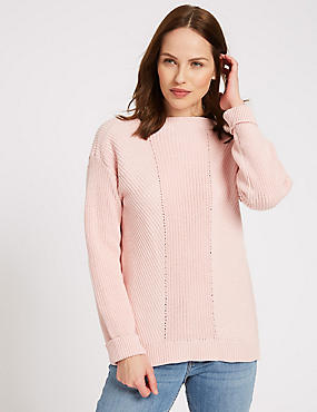 Pure Cotton Cable Knit Slash Neck Jumper, BUBBLEGUM, catlanding