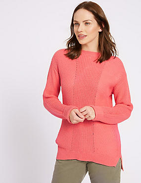 Pure Cotton Cable Knit Slash Neck Jumper, WATERMELON, catlanding