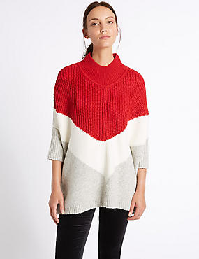 Colour Block Poncho Funnel Neck Jumper, GREY MIX, catlanding
