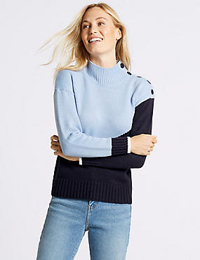 Colour Block Funnel Neck Jumper, BLUE MIX, catlanding
