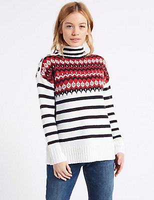 PETITE – Pullover mit Streifen, Rollkragen und Norwegermuster, CREME MELANGE, catlanding
