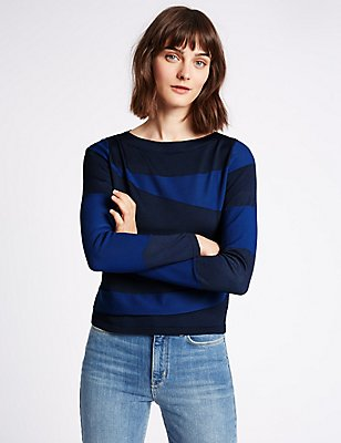 Spliced Textured Round Neck Jumper, RICH BLUE, catlanding