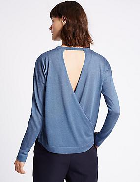 Open Back Round Neck Jumper, BLUE, catlanding