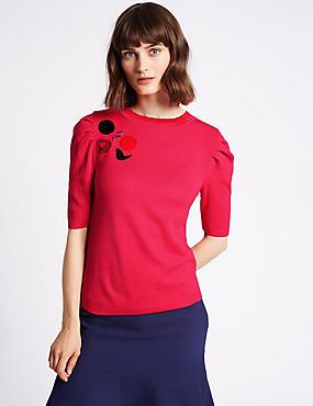 Embellished Round Neck Puff Sleeve Jumper, BRIGHT PINK, catlanding