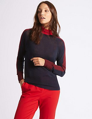 Wool Rich Colour Block Funnel Neck Jumper, NAVY MIX, catlanding