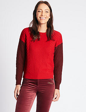Wool Rich Colour Block Round Neck Jumper, RED MIX, catlanding