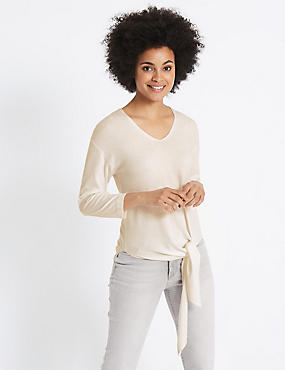 Tie Front V-Neck Jumper, CREAM, catlanding