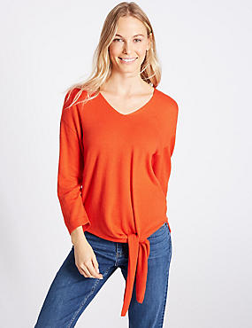 Tie Front V-Neck Jumper, DARK ORANGE, catlanding