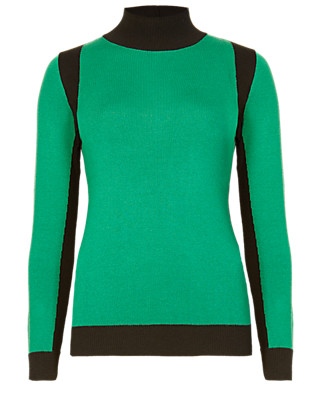 Colour Block Turtle Neck Jumper Clothing