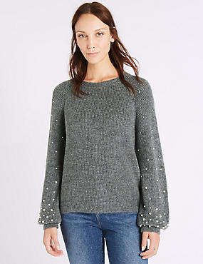 Textured Round Neck Pearl Sleeve Jumper, CHARCOAL, catlanding