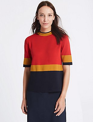 Colour Block Turtle Neck Half Sleeve Jumper, ORANGE MIX, catlanding