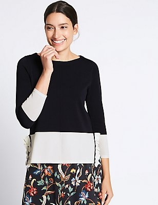 Colour Block Frill 3/4 Sleeve Jumper, NAVY MIX, catlanding